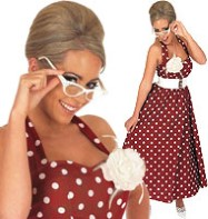 50's Red Polka Dot Day Dress - Adult Costume Fancy Dress