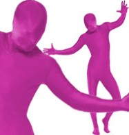 Second Skin Suit Pink - Adult Costume Fancy Dress