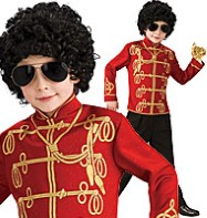 Michael Jackon Red Military Jacket - Child Costume Fancy Dress