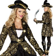 Gold Treasure Pirate - Adult Costume Fancy Dress