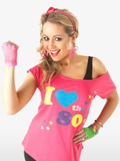 I Love the 80's T-shirt - Adult Costume Fancy Dress
