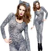 Bodysuit Leopard Print  White - Adult Costume Fancy Dress