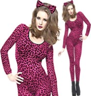 Bodysuit Leopard Print Pink - Adult Costume Fancy Dress