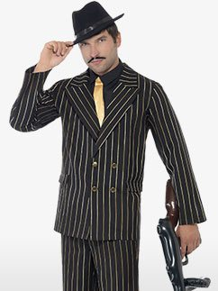 Gold Pinpstripe Gangster Suit - Adult Costume Fancy Dress