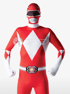 Mighty Morphin Red Ranger Second Skin Suit - Adult Costume Fancy Dress