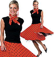 Rock'n'Roll Skirt Red - Adult Costume Fancy Dress