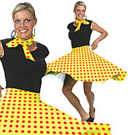 Rock'n'Roll Skirt Yellow - Adult Costume Fancy Dress