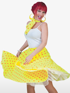 Rock'n'Roll Skirt Yellow - Adult Costume