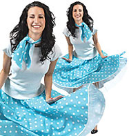 Rock'n'Roll Skirt Blue - Adult Costume Fancy Dress