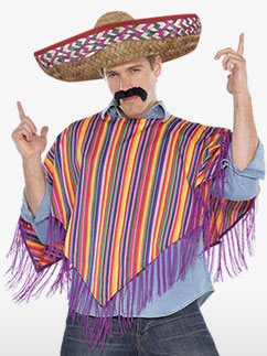 Poncho and Hat - Adult Costume Fancy Dress