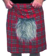 Red Tartan Kilt with Sporran - Adult Costume Fancy Dress