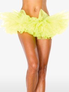 Deluxe Neon Yellow Organza Tutu - Adult Costume Fancy Dress