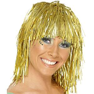 Wigs Tinsel Wig Gold