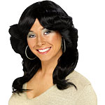 70's Flick Wig - Black Fancy Dress