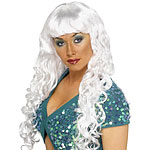 Curly Siren Wig - White Fancy Dress