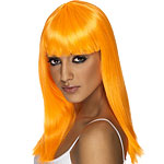 Glamourama Wig - Neon Orange Fancy Dress