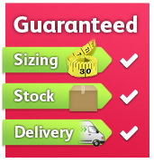 Guaranteed Sizing, Guaranteed Stock, Guaranteed Delivery
