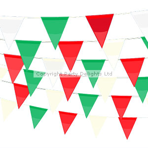 Decorations Plastic Bunting - Red, White, Green - 9m