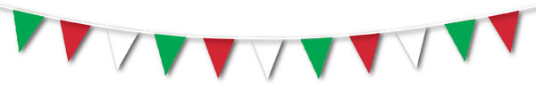 Plastic Bunting - Red, White, Green - 9m