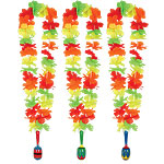 Flower Lei with Wooden Maraca - - Hawaiian Accessories