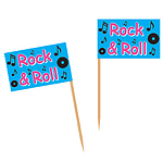 1950's Party Supplies Rock and Roll Flag Picks