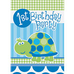 Turtle 1st Birthday Invitation Cards