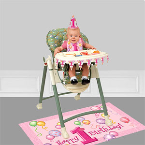 FIRGCKIT UNI001 First Birthday Balloons Pink High Chair Decorating Kit