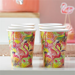 Flamingo Fun Cups - 255ml Paper Party Cups