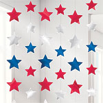 Red, Silver & Blue Star Hanging Strings Decorations - 2.1m