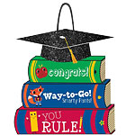 Graduation Stack Of Books Glitter Sign - 30cm