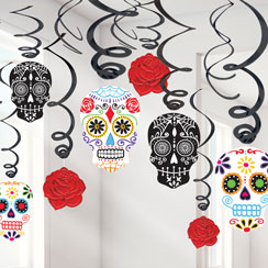 day of the dead hanging swirls 60cm - Day Of The Dead Halloween Decorations