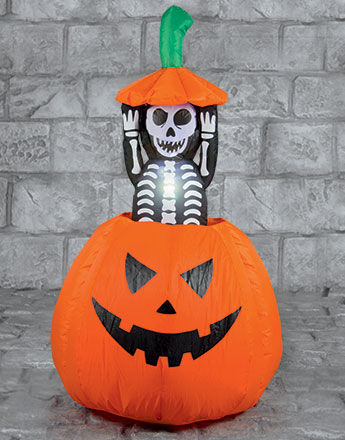 Pumpkin with Pop Up Skeleton - 1.2m