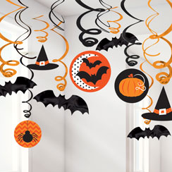 hats and bats hanging swirls 60cm - Halloween Hanging Decorations