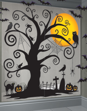 Halloween scene setters backdrops party delights for Decoration murale halloween