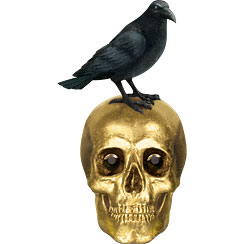 Boneyard Skull & Raven Table Decoration - 21cm