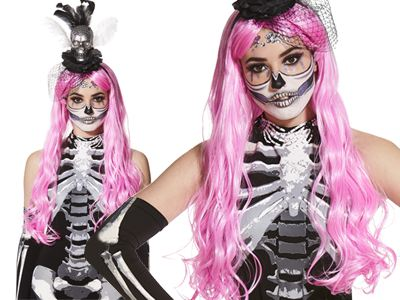 put a stylish spin on a halloween classic with this black halter neck skeleton jumpsuit then complete this simple yet spooky costume with a bright pink