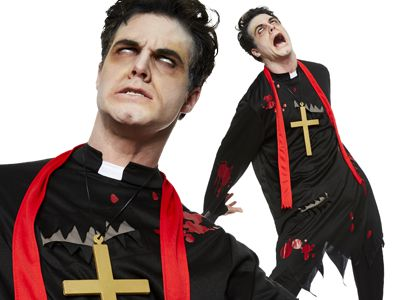 Zombie Priest Costume Vicar Adult Mens Scary Evil Halloween Fancy Dress Outfit