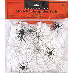 Stretchable Spiders Web. Includes 4x Spiders