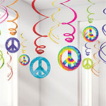 60's Feeling Groovy Hanging Swirls Decoration - 60cm