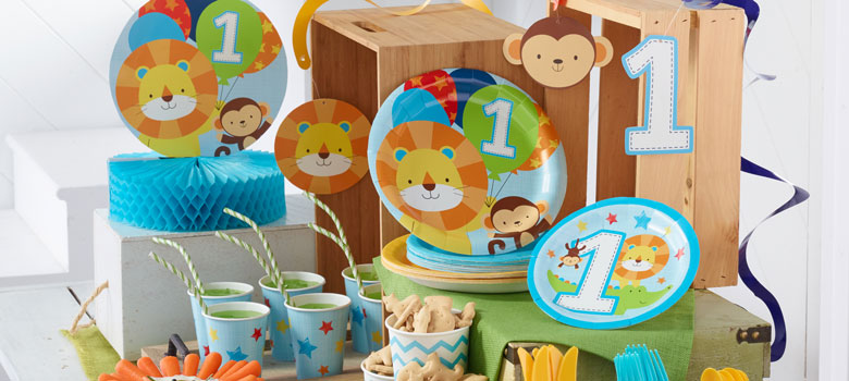 One Is Fun Blue 1st Birthday Party Supplies