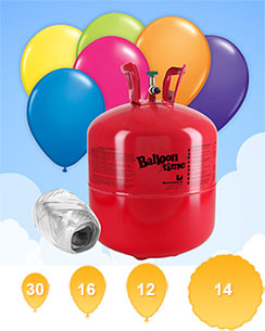 Helium Canister (For 30 Balloons) with 30 Balloons & Ribbon