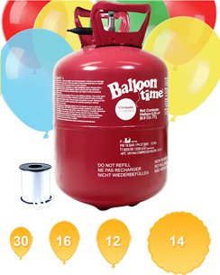 Helium Canister with 25 Balloons & Ribbon
