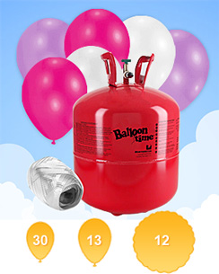 Helium Canister (For 30 Balloons) with 30 Pink & White Balloons & Ribbon