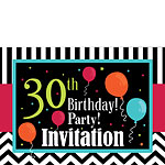 30th Birthday Invitation cards - Chevrons and Stripes - Medium