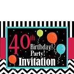 40th Birthday Invitation cards - Chevrons and Stripes - Medium