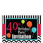 40th Birthday Invitation cards - Chevrons and Stripes - Small