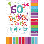 60th Birthday Invitation Cards - Radiant - Medium