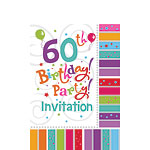 60th Birthday Invitation Cards - Radiant - Small