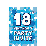 18th Birthday Invitation cards - Blue Sparkle  - Small