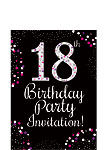 18th Birthday Pink Invitation Cards - Small